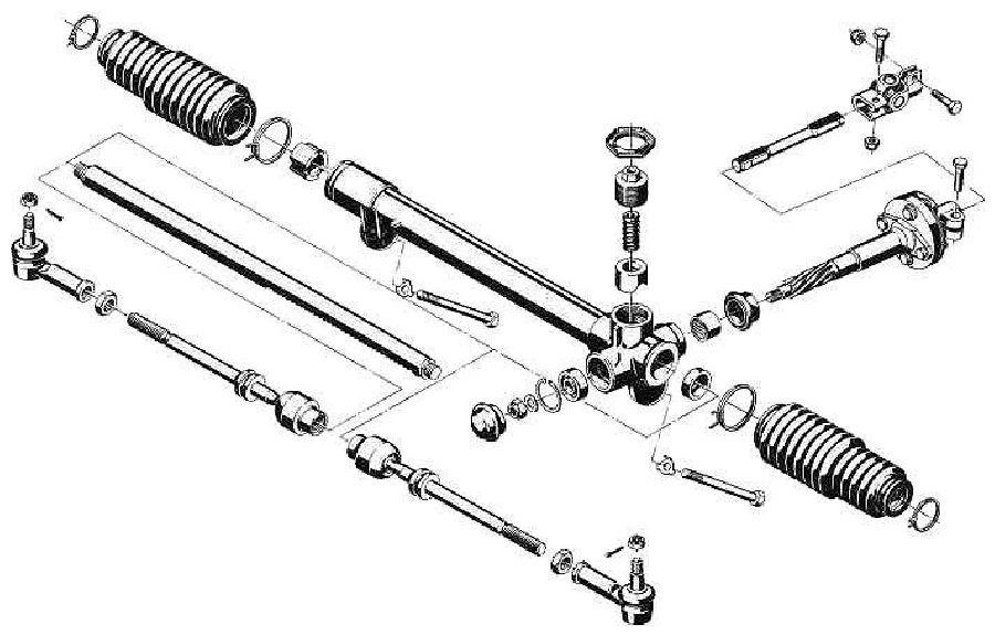 Рулевые тяги, расположенные на
