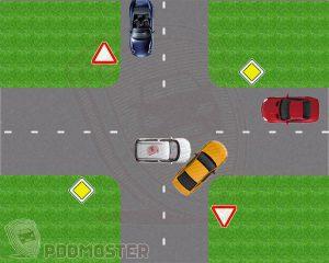 Невнимательный водитель желтого авто