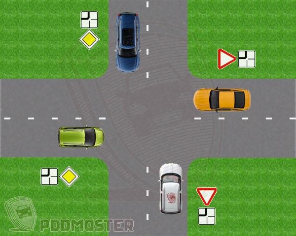 Второстепенная дорога на перекрестке уходит направо